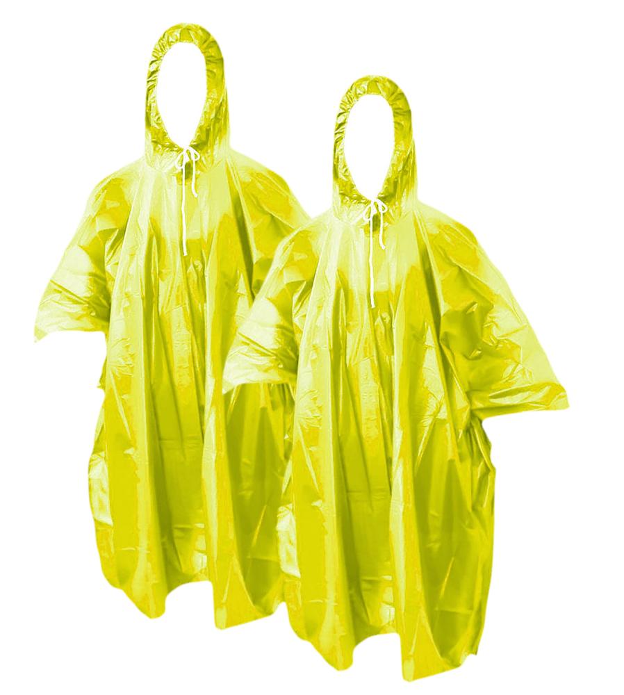 2X 10x Einweg Regenmantel mit Kapuze Poncho Notfall Erwachsenen Camping Wa N5K5