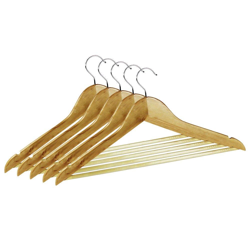 kleiderb gel aus holz mit hosensteg antirutsch beschichtet 5er set ebay. Black Bedroom Furniture Sets. Home Design Ideas