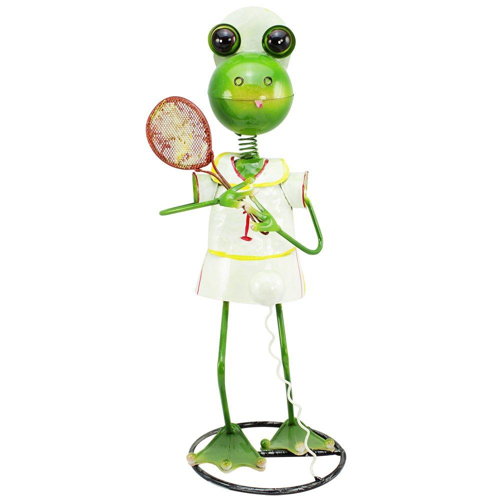 """44x23x21cm Dekofigur /""""Frosch mit Tennisschläger/"""" aus bunt lackiertem Metall ca"""