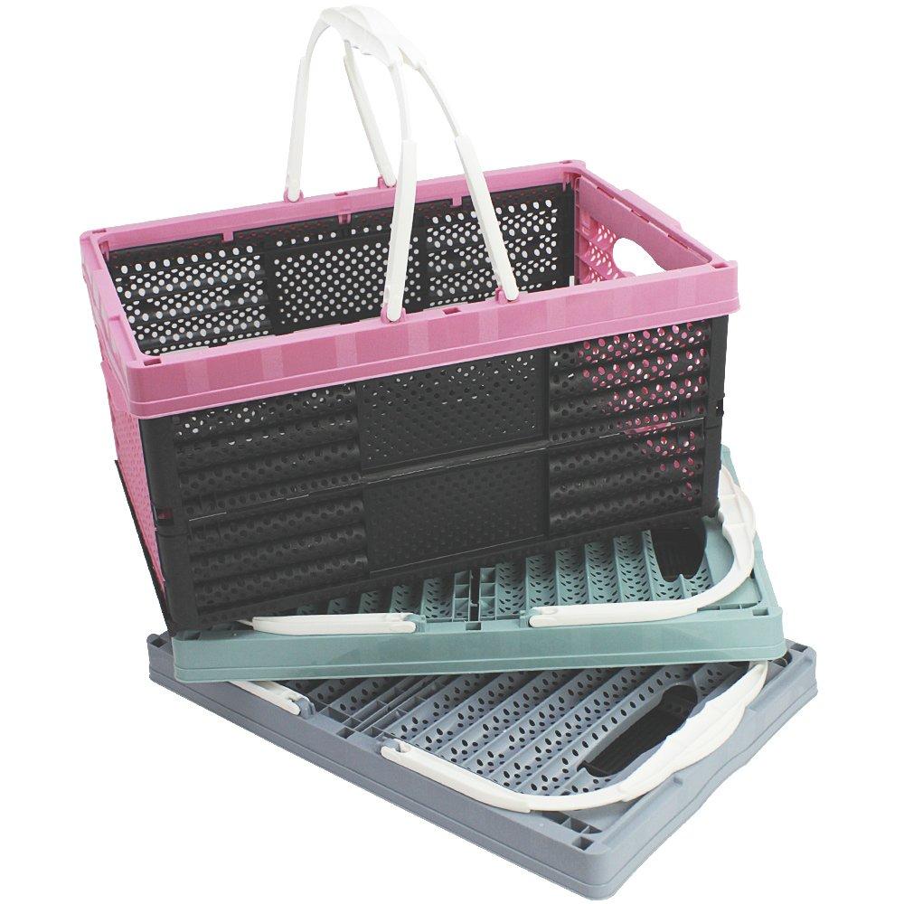 klappbarer Einkaufskorb 3x Klappbox mit Henkeln in Pastelltönen 3 Farben