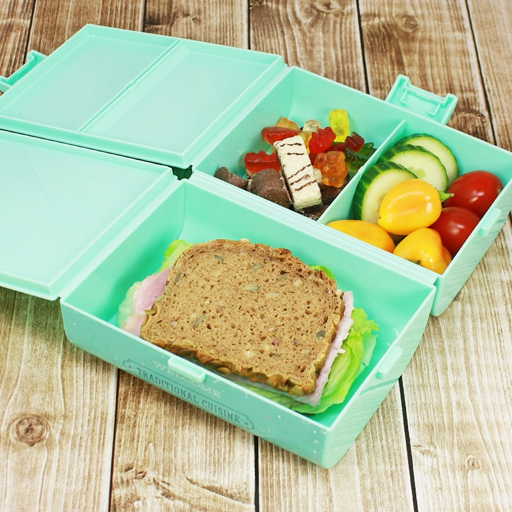 brotdose breakfast f r unterwegs lunch box f r kinder mit trennw nden ebay. Black Bedroom Furniture Sets. Home Design Ideas