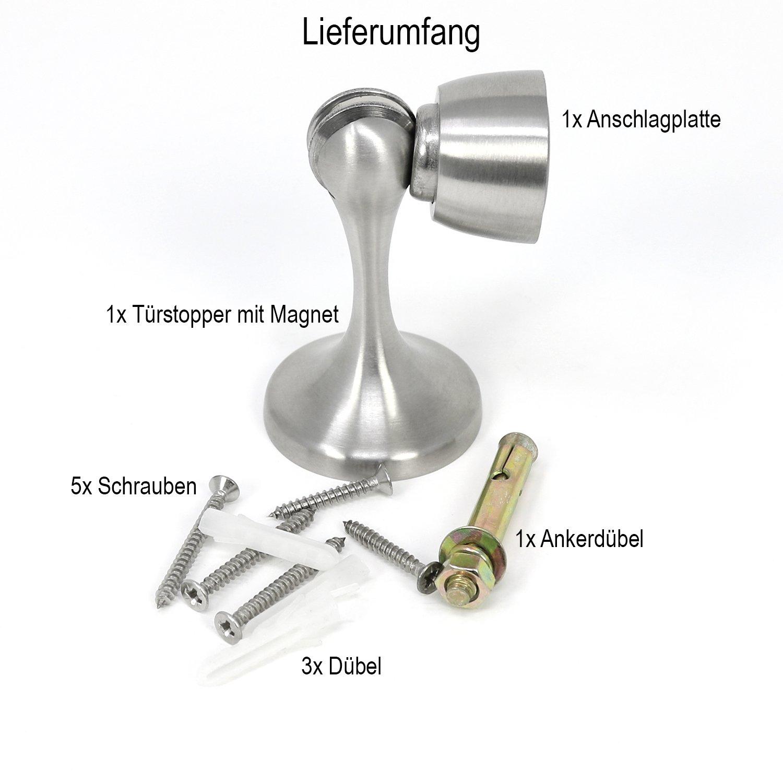 7,5 x Ø 4,6 cm Türfeststeller aus satiniertem Edelstahl Türstopper mit Magnet