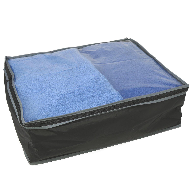 3x aufbewahrungstaschen in schwarz grau aufbewahrungsboxen mit rei verschluss ebay. Black Bedroom Furniture Sets. Home Design Ideas