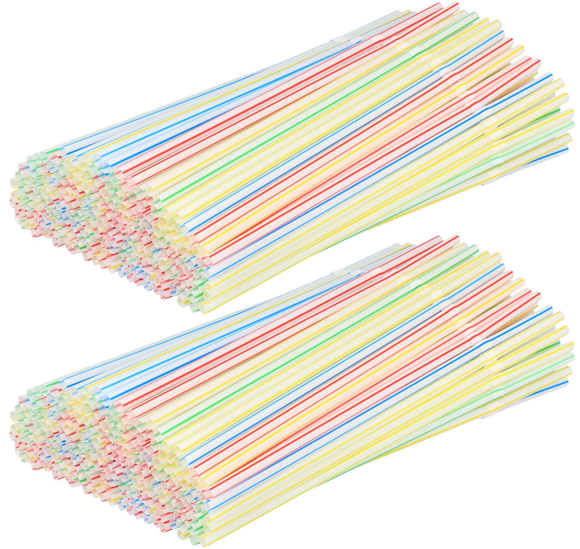 "1000 transparente Trinkhalme flexibel Ø 5 mm 24 cm /""Streifen/"" Party Strohhalme"